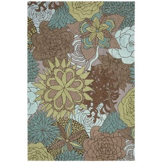 Nourison South Beach Aqua Brown Rug 8' x 10'6