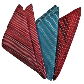Dmitry Men's Turquoise/Red Italian Silk Pocket Squares (Pack of 3)