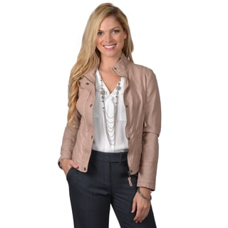 Jessica Simpson Women's Fitted Faux Leather Jacket