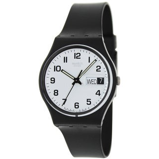Swatch Men's Irony GB743 Black Rubber Swiss Quartz Watch with White Dial