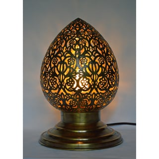 Handmade Brass Filigree Table Lamp (Morocco)