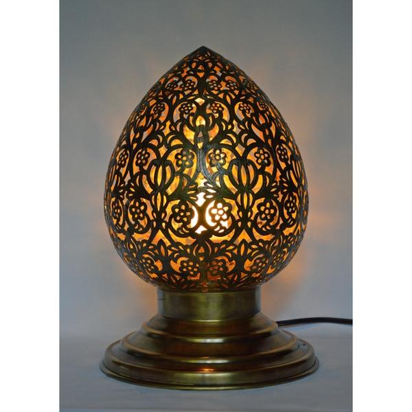 Handmade Brass Filigree Table Lamp (Morocco)