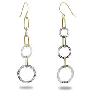 Gioelli 14k Two-tone Gold Diamond-cut Open Circle Dangle Earrings