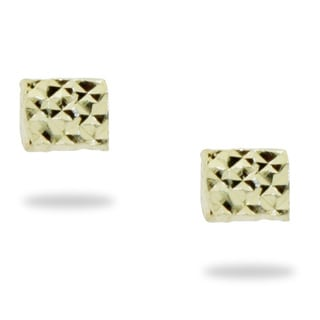 Gioelli 14k Yellow Gold Diamond-cut Dice Stud Earrings