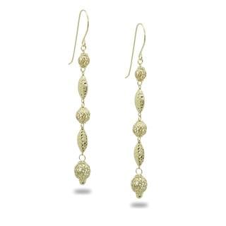 Gioelli Gioelli 14k Yellow Gold Diamond-cut Filigree Bead Dangle Earrings