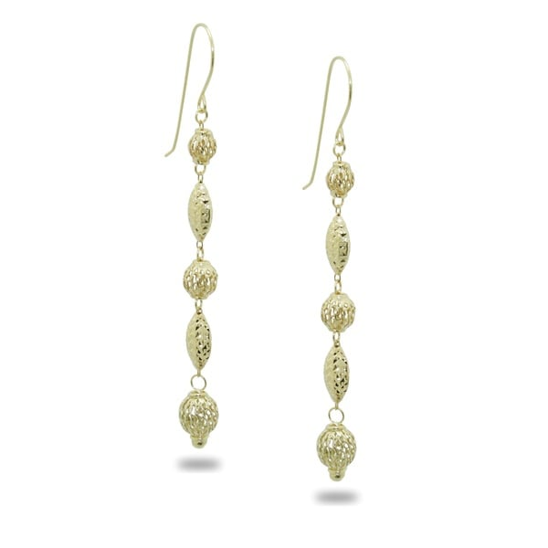 Gioelli 14k Yellow Gold Diamond-cut Filigree Bead Dangle Earrings