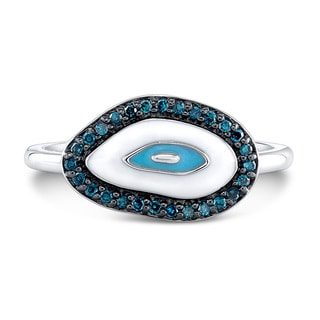 Sterling Silver 1/6ct TDW Blue Diamond and Enamel Evil Eye Ring (J-K, I2-I3)