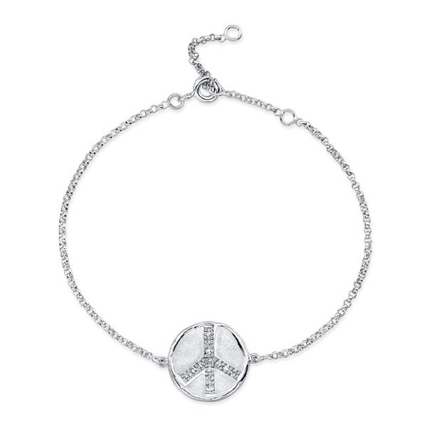 Sterling Silver Diamond Accent Peace Disc Bracelet