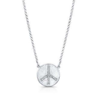 Victoria Kay Sterling Silver Diamond Accent Peace Disc Necklace