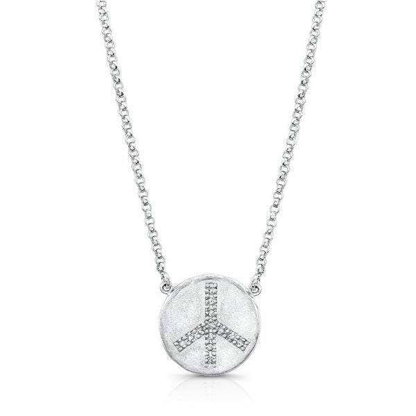 Sterling Silver Diamond Accent Peace Disc Necklace