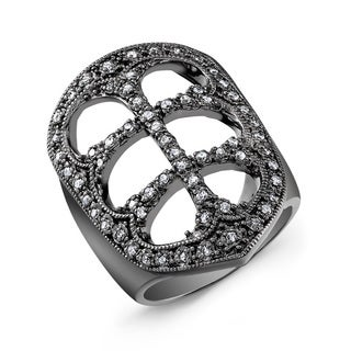 Black-plated Sterling Silver 1/3ct TDW Diamond Fashion Ring (J-K, I2-I3)