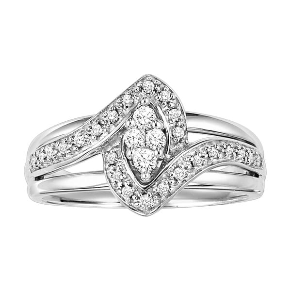 Cambridge Sterling Silver 1/5ct TDW Marquise Diamond Ring