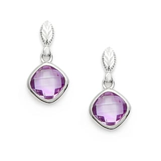 La Preciosa Sterling Silver Cushion-cut Amethyst Earrings
