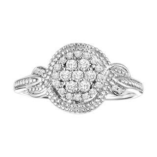 Cambridge Sterling Silver 1/4ct TDW Round Diamond Halo Ring