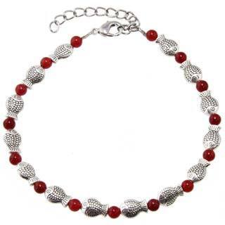 Handmade Miao Silver Red Agate Smiling Fish Anklet (China)