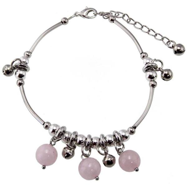 Handmade Miao Silver Rose Quartz Beaded Anklet (China)