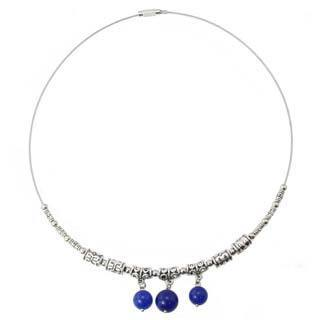 Handmade Miao Silver Blue Agate Beaded Wire Necklace (China)
