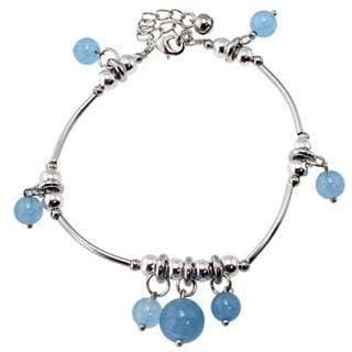 Miao Silver Blue Chalcedony Anklet (China)