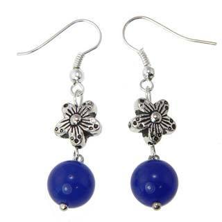Handcrafted Miao Silver Blue Agate Earrings (China)