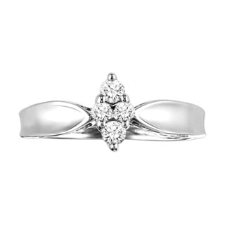 Cambridge Sterling Silver 1/5ct TDW Marquise Solitaire Diamond Ring