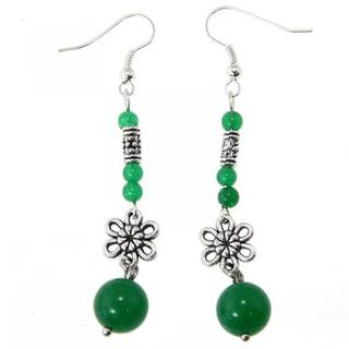 Miao Silver Green Agate Flower Earrings (China)