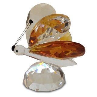 Crystal Florida Butterfly Figurine with Amber Wings