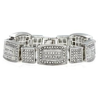 La Preciosa Brass Silvertone Men's Crystal Bling Bracelet