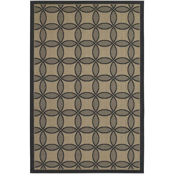 Five Seasons Black and Cream Retro Clover Rug (7'10 x 10'9)
