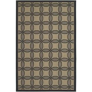 Five Seasons Black and Cream Retro Clover Rug (7'10 x 10'9)