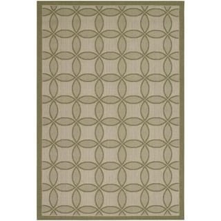 Five Seasons Green and Cream Retro Clover Rug (9'2 x 12')