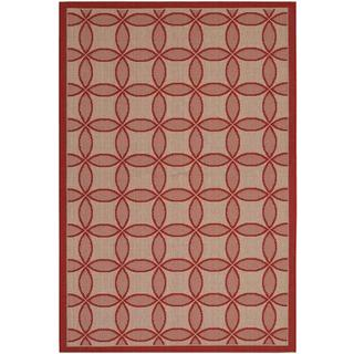 "Five Seasons Retro Clover/Red-Natural 4'11"" x 7'6"" Rug"