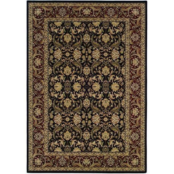 "Himalaya Isfahan/Ebony-Persian Red 3'11"" x 5'3"" Rug"