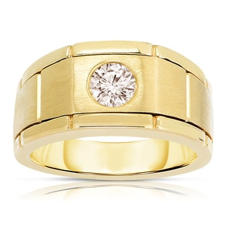 10k Yellow Gold 1/2ct TWD Men's Bezel-set Diamond Ring (SI1-SI2)