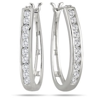 Marquee Jewels 10k White Gold 1ct TDW Round Channel Set Diamond Hoop Earrings