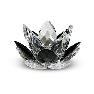 Crystal Florida Black Crystal Lotus Candleholder