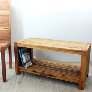 Teak Slat Oak Oil Coffee Table with Shelf (Thailand)