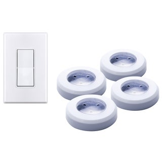emerson wireless remote led puck light set overstock shopping big. Black Bedroom Furniture Sets. Home Design Ideas