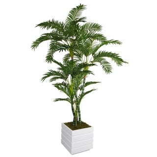 Laura Ashley 78-inch Tall Palm Tree and 14-inch Fiberstone Planter