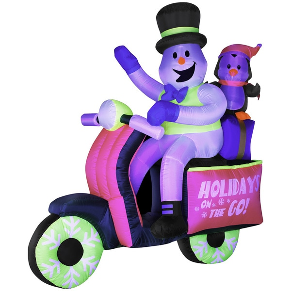 Inflatable Neon Snowman on Scooter