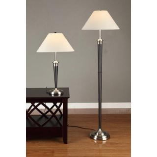 Artiva 2-piece Brushed Steel and Espresso Table and Floor Lamp Set
