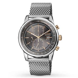 Citizen Men's CA0336-52H Eco-Drive Chronograph Mesh Stainless Steel Silver-Tone Strap Watch