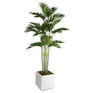 Laura Ashley 74-inch Tall Palm Tree and 14-inch Fiberstone Planter