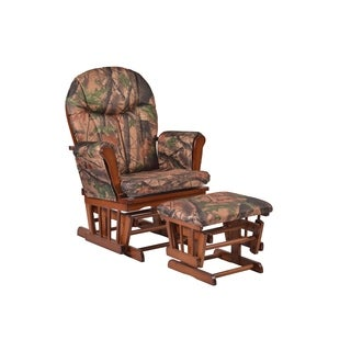 Cherry Wood Camo Cushion Glider and Ottoman