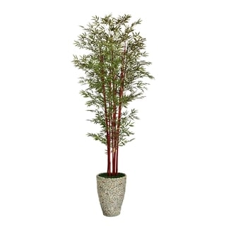 "Laura Ashley 106"" Tall Harvest Bamboo Tree in 16"" Fiberstone Planter"