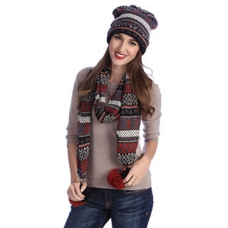 MUK LUKS Nordic-Patterned Knit Cuff Cap and Scarf with Large Poms