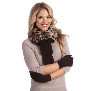Muk Luks Faux Fur Neck Wrap with Texting Glove Set