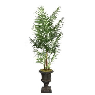 "Laura Ashley 90"" Tall Areca Palm Tree in 16"" Fiberstone Planter"
