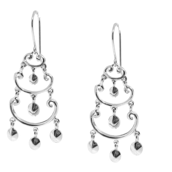 Sterling Silver Tiered Dangle Earrings