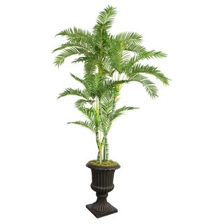 "Laura Ashley 86"" Tall Palm Tree in 16"" Fiberstone Planter"