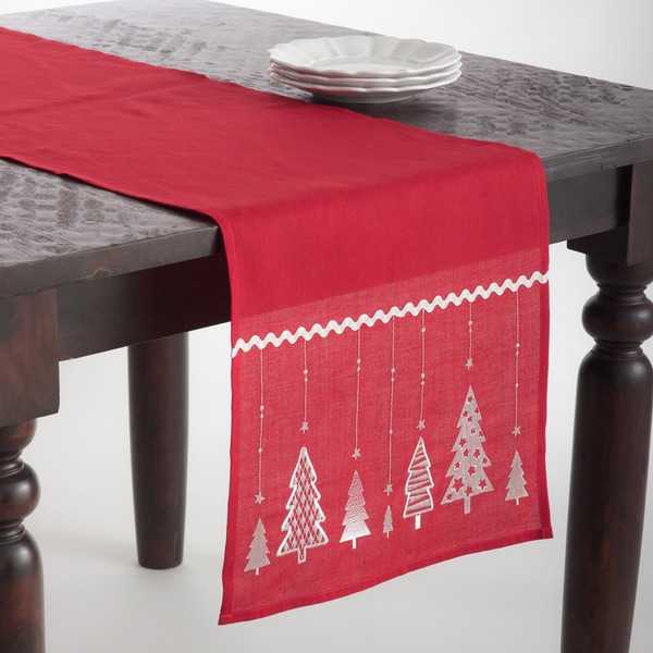 Christmas Tree Design Embroidered Runner